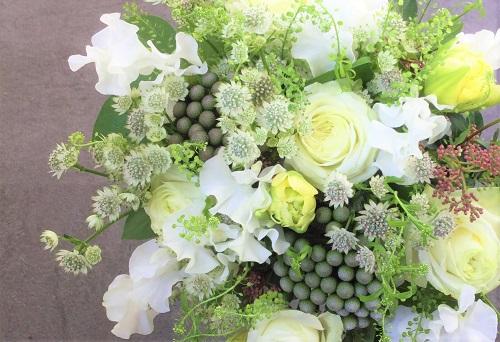 花束 白グリーン